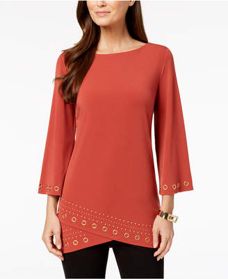 JM Collection Petite Layered-Hem Grommet-Trim Top