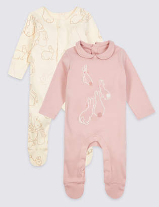Marks and Spencer Peter Rabbit 2 Pack Pure Cotton Sleepsuits