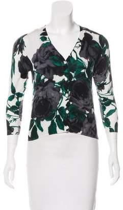 Samantha Sung Silk Floral Pattern Cardigan