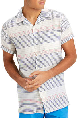 Onia Men's Vacation Striped Short-Sleeve Sport Shirt, Blue/Red