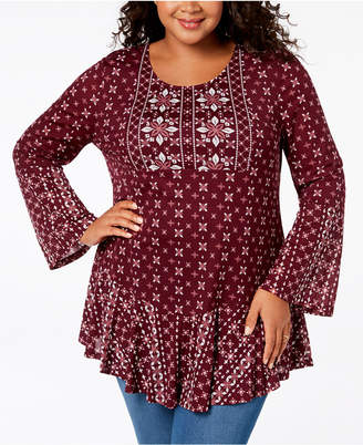 Style&Co. Style & Co Plus Size Mixed-Print Flounce-Hem Top, Created for Macy's