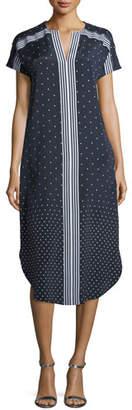 St. John Dot-Print Crepe de Chine Shirttail Dress
