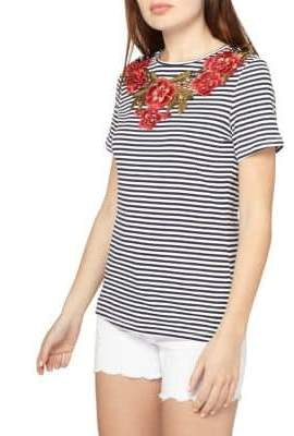 Dorothy Perkins Striped Floral-Embroidered Tee
