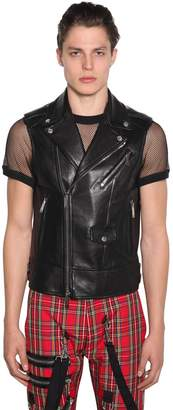 DSQUARED2 Zip-Up Leather Biker Vest