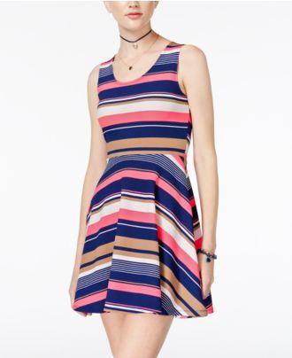 Planet Gold Juniors' Hazel Striped Fit & Flare Dress