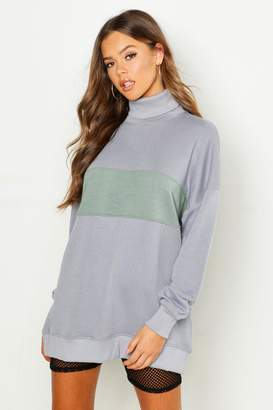 boohoo Roll Neck Oversized Panel Sweatshirt