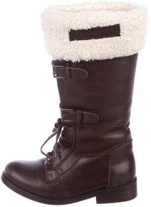 Burberry Girls' Leather Round-Toe Boots