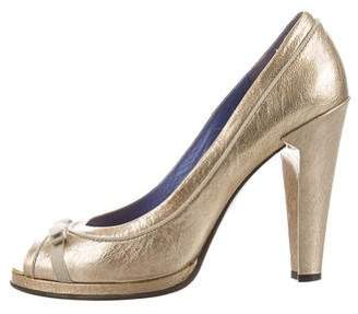 Marc Jacobs Metallic Peep-Toe Pumps