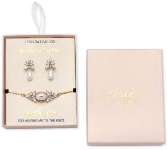 Badgley Mischka Gold-Tone Crystal and Imitation Pearl Drop Earrings & Slider Bracelet Set