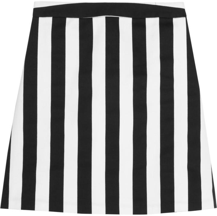 Alice + Olivia Marella striped cotton-blend mini skirt
