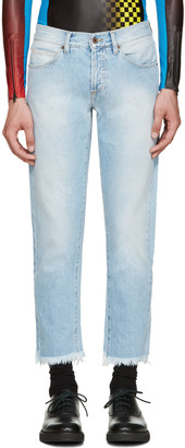 Off-White Blue Cropped Jeans $435 thestylecure.com