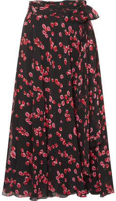 Giambattista Valli Printed Silk-georgette Midi Skirt - Black