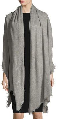 Bindya Scattered Sparkle Frame Cashmere Stole, Light Gray