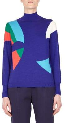 DELPOZO Wool Geometric-Print Pullover