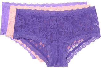 Hanky Panky Signature Set Of Three Stretch-lace Boy Shorts - Purple