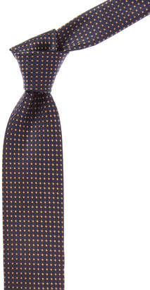 Canali Dark Blue And Gold Circle Silk Tie
