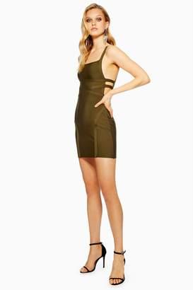 Topshop Womens Strap Side Bandage Bodycon Dress - Khaki