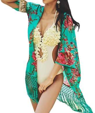 7c28bbc9838f8 at Amazon Canada · YOUBEST Bestyou Women's Beachwear Cover-ups Tunic  Chiffon Printed Kimono Cardigan Free