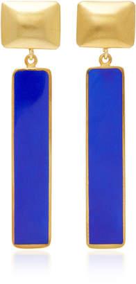 Silhouette Gold-Plated Enamel Rectangle Earrings