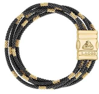 Lagos Gold & Black Caviar Bead Bracelet