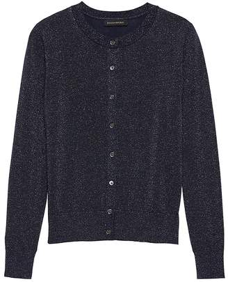 Banana Republic Machine-Washable Merino Wool Metallic Cardigan Sweater
