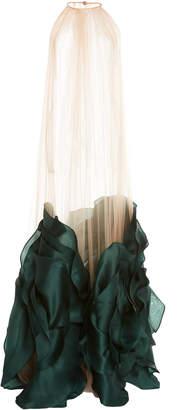 Costarellos Bi-Colored Halter Neck Sheer Chiffon Tulle Cape Dress