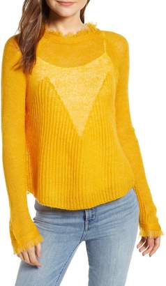 Moon River Frayed Sheer Sweater