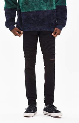 PacSun Stacked Skinny Moto Destroy Black Jeans