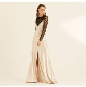 Amanda Wakeley Champagne Crepe Back Satin Lace Long Dress