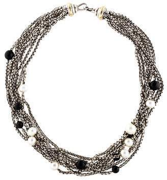 David Yurman Bijoux Onyx & Pearl Multistrand Collar Necklace