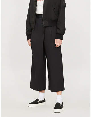 Izzue High-rise wide-leg stretch-cotton trousers