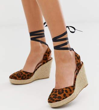 Miss Selfridge espadrille wedge heels with ankle ties in leopard