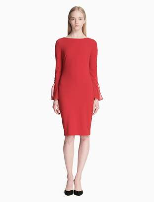 Calvin Klein scuba crepe button chiffon cuff sheath dress