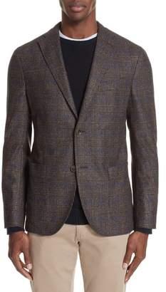 Boglioli Trim Fit Stretch Plaid Wool Blend Sport Coat