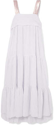 Ulla Johnson Bess Lurex-trimmed Pinstriped Cotton-blend Voile Midi Dress - White