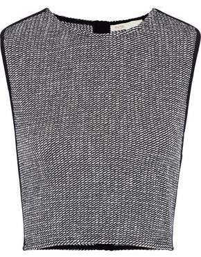 Maje Larza Cropped Crepe-Trimmed Metallic Cotton-Blend Bouclé-Tweed Top