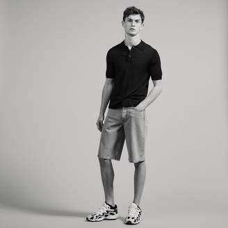 Sandro Fine Knit Polo Shirt With Short Sleeves