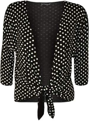 1449e09a0d7d Roland Mouret Fashions Women s Plus Size Polka Dot 3 4 Sleeves Tie-up Shrug