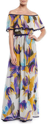 Talitha Collection Mika-Print Off-the-Shoulder Silk Maxi Dress