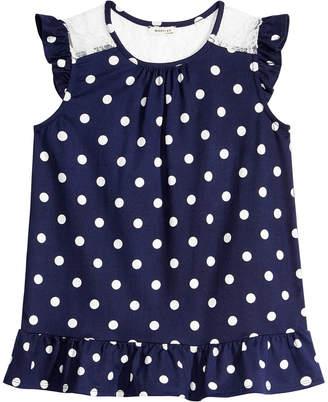 Monteau Big Girls Lace-Trim Dot-Print Top