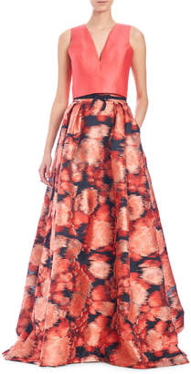 Carolina Herrera Abstract-Print V-Neck Ball Gown