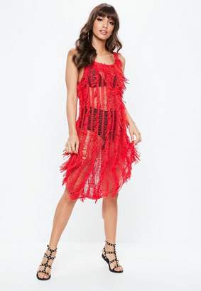 Missguided Red Crochet Fringe Dress