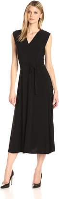 Chaus Women's Cap Sleeve Solid V-Neck Belted Maxi Dress