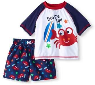 Healthtex Baby Boy Short Sleeve Rash Guard & Swim Trunk 2pc Set