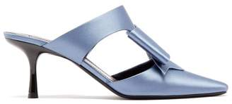 Gabor Fabrizio Viti Bow Embellished Satin Mules - Womens - Light Blue