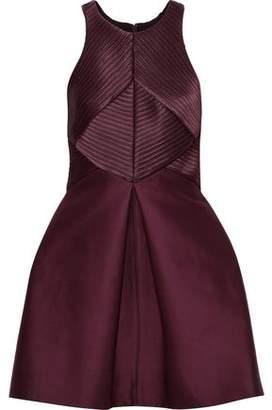 Halston Satin-paneled Cotton And Silk-blend Faille Mini Dress