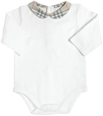 Burberry Cotton Jersey Bodysuit W/ Check Collar