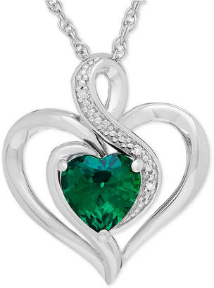 Macy's Lab-Created Emerald (1-1/8 ct. t.w.) & Diamond Accent Heart Pendant Necklace in Sterling Silver