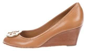 Tory Burch Leather Peep-Toe Wedges