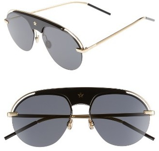 Women's Christian Dior Revolution 58Mm Aviator Sunglasses - Black/ Gold